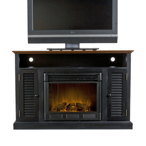 Antebellum Black Walnut Media Console w/ Electric Fireplace