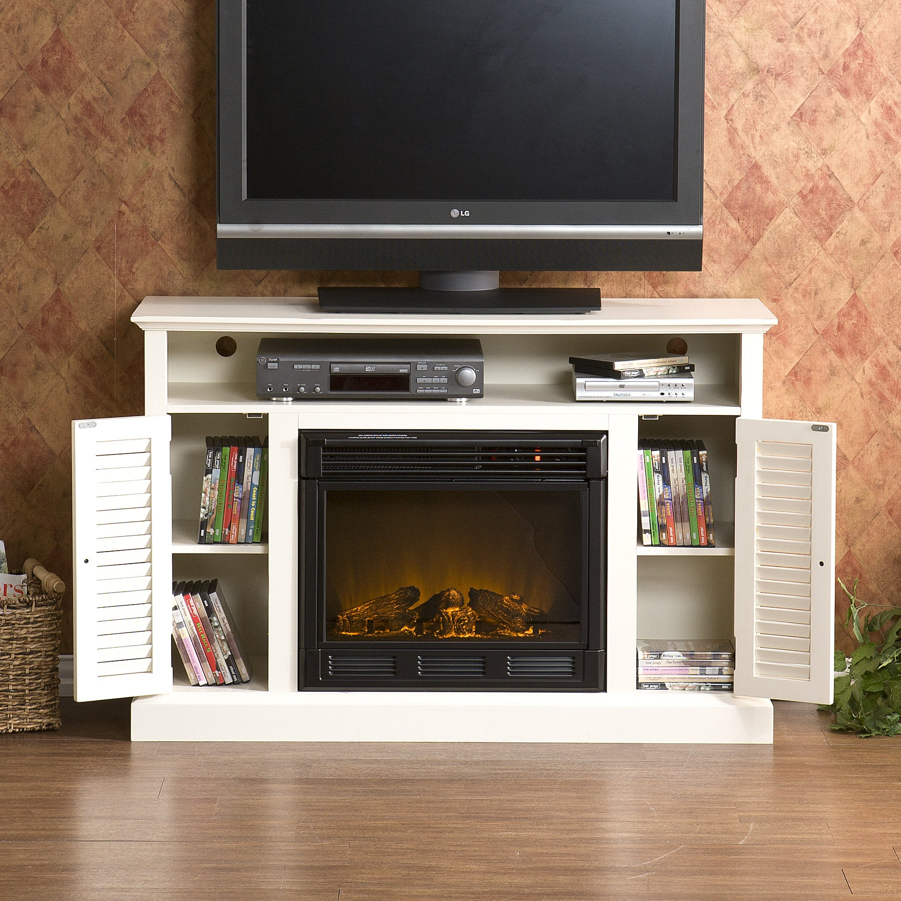 entertainment center white real grand fireplace electric with flame pin distressed tracey