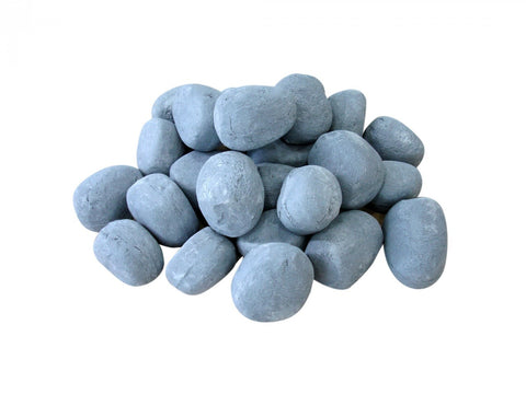 Grey Ceramic Fireplace Pebble Set - 24pcs