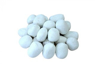 White Ceramic Fireplace Pebble Set - 24pcs