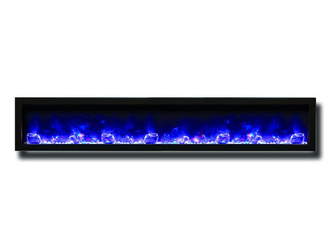 "Amantii 88"" Slim Electric Built-In Fireplace With Black Steel Surround - Electric Fireplaces - Ventless Fireplace Pros"