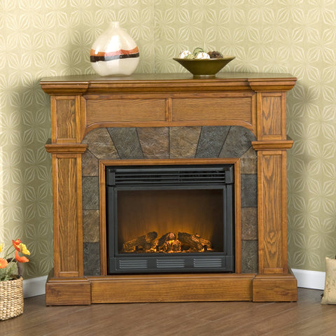 Cartwright Mission Oak Convertible Slate Electric Fireplace - Electric Corner Fireplaces Electric Fireplaces €� Ventless