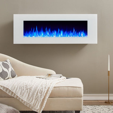 "DiNatale 50"" Wall-Mounted Electric Fireplace in White - Ventless Fireplace Pros"