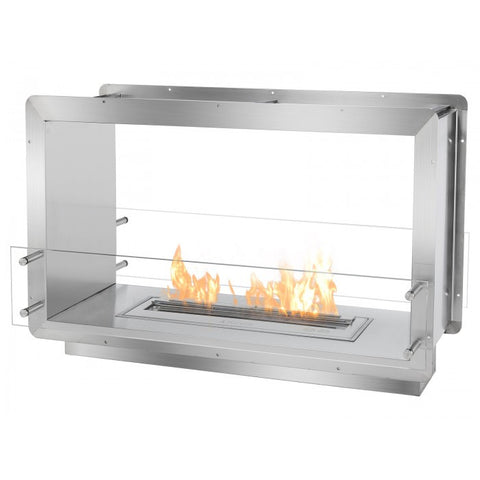 "Ignis 39.5"" Wide Double-Sided Ethanol Burning Firebox - Ventless Fireplace Pros"