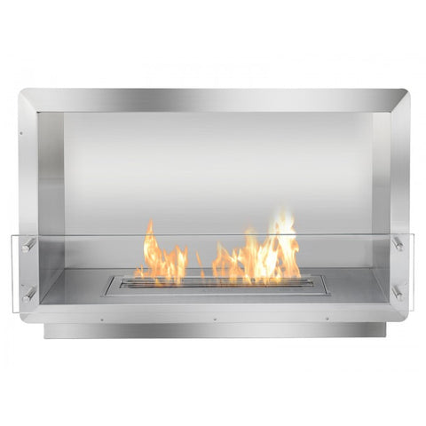 "Ignis 39.5"" Wide One-Sided Ethanol Burning Firebox - Ventless Fireplace Pros"