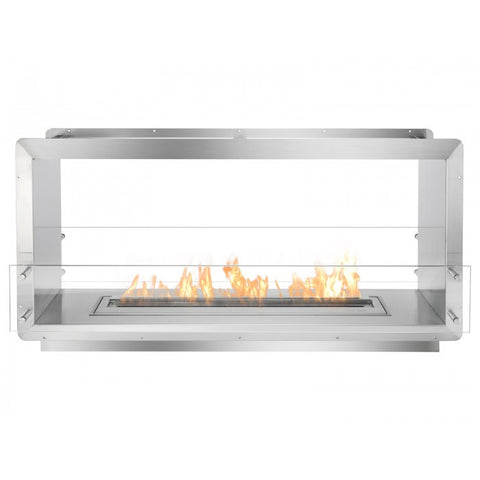 "Ignis 52"" Wide Double-Sided Ethanol Burning Firebox - Ventless Fireplace Pros"