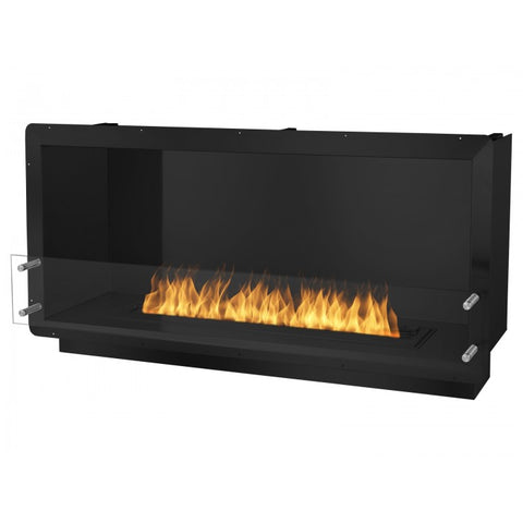 "Ignis 52"" Wide One-Sided Ethanol Burning Firebox in Black - Ventless Fireplace Pros"