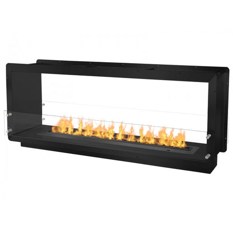 "Ignis 64.25"" Wide Double-Sided Ethanol Burning Smart Firebox in Black - Ventless Fireplace Pros"