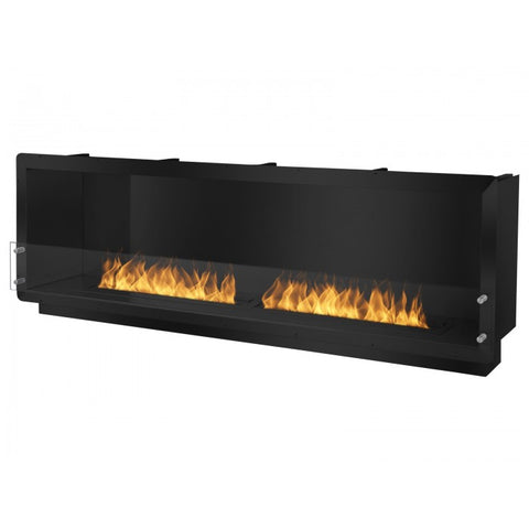 "Ignis 78.5"" Wide One-Sided Ethanol Burning Firebox in Black - Ventless Fireplace Pros"