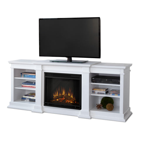 Fresno Entertainment Center Electric Fireplace (White) - Ventless Fireplace Pros
