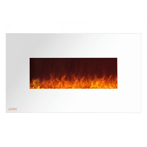 "36"" Royal White Wall Mount Electric Fireplace with Crystals - Ventless Fireplace Pros"