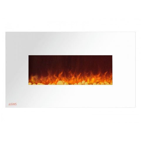 "36"" Royal White Wall Mount Electric Fireplace with Pebbles - Ventless Fireplace Pros"