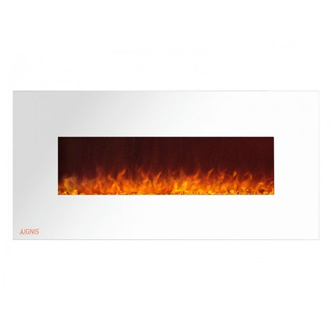 "50"" Royal White Wall Mount Electric Fireplace with Crystals - Ventless Fireplace Pros"