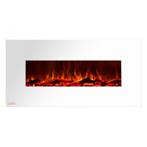 "50"" Royal White Wall Mount Electric Fireplace with Logs - Ventless Fireplace Pros"