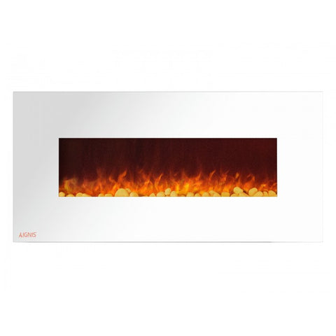 "50"" Royal White Wall Mount Electric Fireplace with Pebbles - Ventless Fireplace Pros"