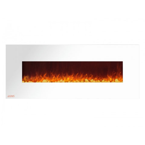 "60"" Royal White Wall Mount Electric Fireplace with Pebbles - Ventless Fireplace Pros"