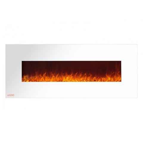 "60"" Royal White Wall Mount Electric Fireplace with Crystals - Ventless Fireplace Pros"