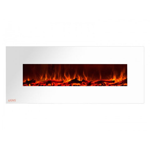 "60"" Royal White Wall Mount Electric Fireplace with Logs - Ventless Fireplace Pros"