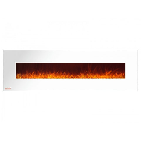 "72"" Royal White Wall Mount Electric Fireplace with Crystals - Ventless Fireplace Pros"