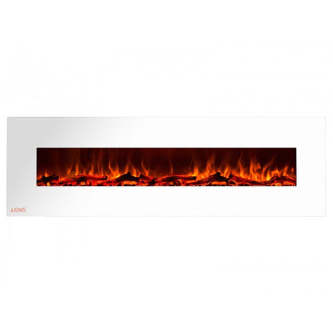 "72"" Royal White Wall Mount Electric Fireplace with Logs - Ventless Fireplace Pros"