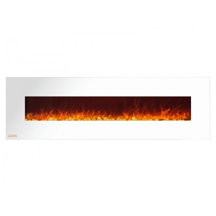 72 Royal White Wall Mount Electric Fireplace With Pebbles