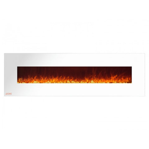 "72"" Royal White Wall Mount Electric Fireplace with Pebbles - Ventless Fireplace Pros"
