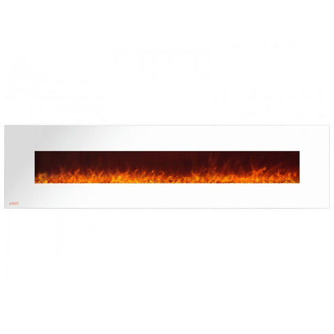 "95"" Royal White Wall Mount Electric Fireplace with Crystals - Ventless Fireplace Pros"