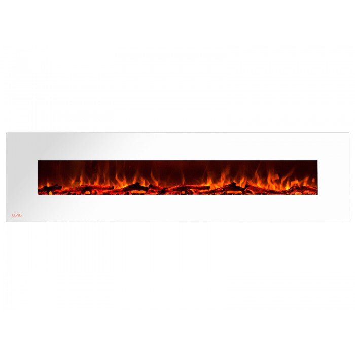 95 Royal White Wall Mount Electric Fireplace With Logs Ventless