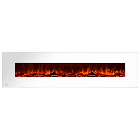 "95"" Royal White Wall Mount Electric Fireplace with Logs - Ventless Fireplace Pros"