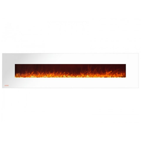 "95"" Royal White Wall Mount Electric Fireplace with Pebbles - Ventless Fireplace Pros"