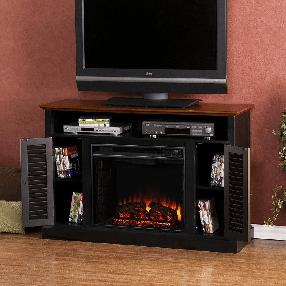 Classic flame belmont 60 quot tv stand with electric fireplace - Antebellum Media Electric Fireplace Black W Walnut Ventless