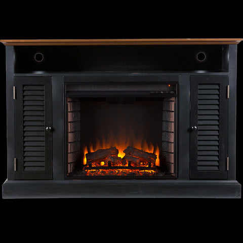 Antebellum Media Electric Fireplace - Black w/ Walnut