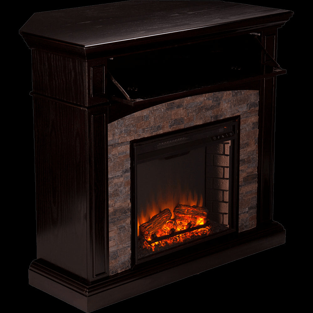 Grantham Faux Stone Corner Electric Media Fireplace - Ebony - Grantham Faux Stone Corner Electric Media Fireplace - Ebony