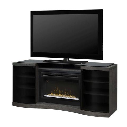 Dimplex Acton Media Console in Silver Charcoal with Acrylic Ice