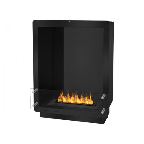 "Ignis 28"" Wide One-Sided Ethanol Burning Smart Firebox in Black - Ventless Fireplace Pros"