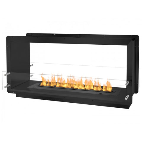 "Ignis 52"" Wide Double-Sided Ethanol Burning Smart Firebox in Black - Ventless Fireplace Pros"