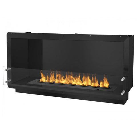 "Ignis 52"" Wide One-Sided Ethanol Burning Smart Firebox in Black - Ventless Fireplace Pros"