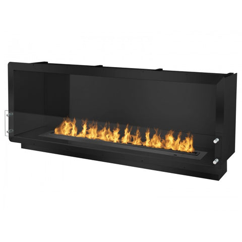 "Ignis 64.25"" Wide One-Sided Ethanol Burning Smart Firebox in Black - Ventless Fireplace Pros"