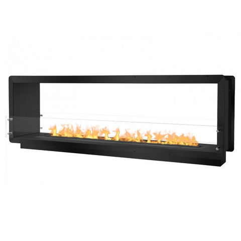"Ignis 78.5"" Wide Double-Sided Ethanol Burning Smart Firebox in Black - Ventless Fireplace Pros"