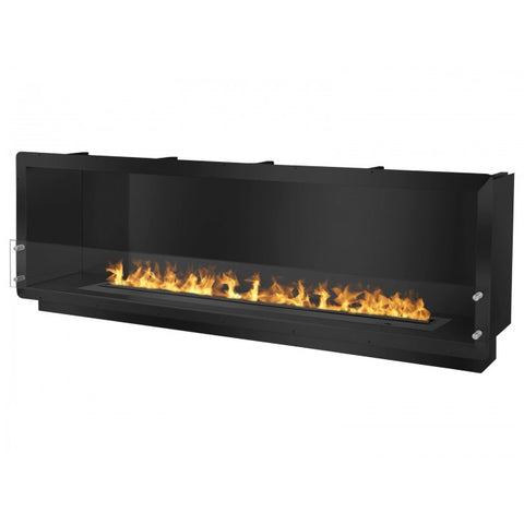 "Ignis 78.5"" Wide One-Sided Ethanol Burning Smart Firebox in Black - Ventless Fireplace Pros"