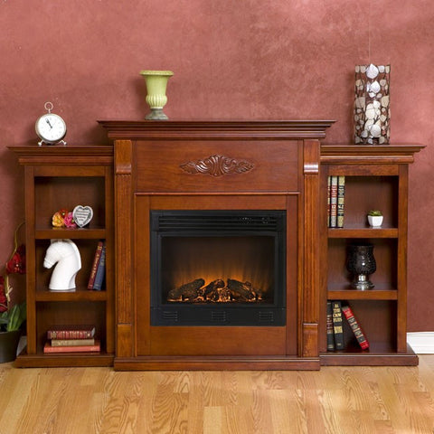 Holly & Martin™ Fredricksburg Electric Fireplace with Bookcases-Mahogany