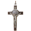 3 in. St. Benedict Crucifix, Chrome with Wood Veneer