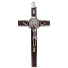6 in. St. Benedict Crucifix, Chrome with Wood Veneer
