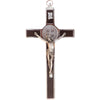 8 in. St. Benedict Crucifix, Chrome with Wood Veneer
