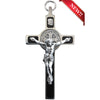 3 in. Cross of St Benedict, Ebony Wood with Nickel Silver