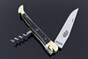 Laguiole Knife with Corkscrew & Awl Black Horn Tip Brass Bolsters