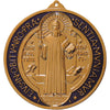 6 in. St. Benedict Wall Medal in gilded gold with blue enamel