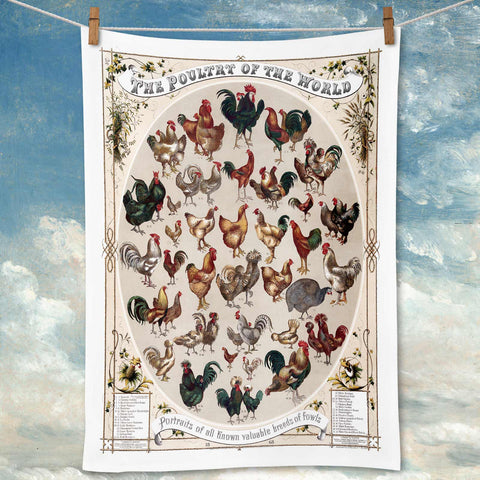 Poultry of the World Tea Towel