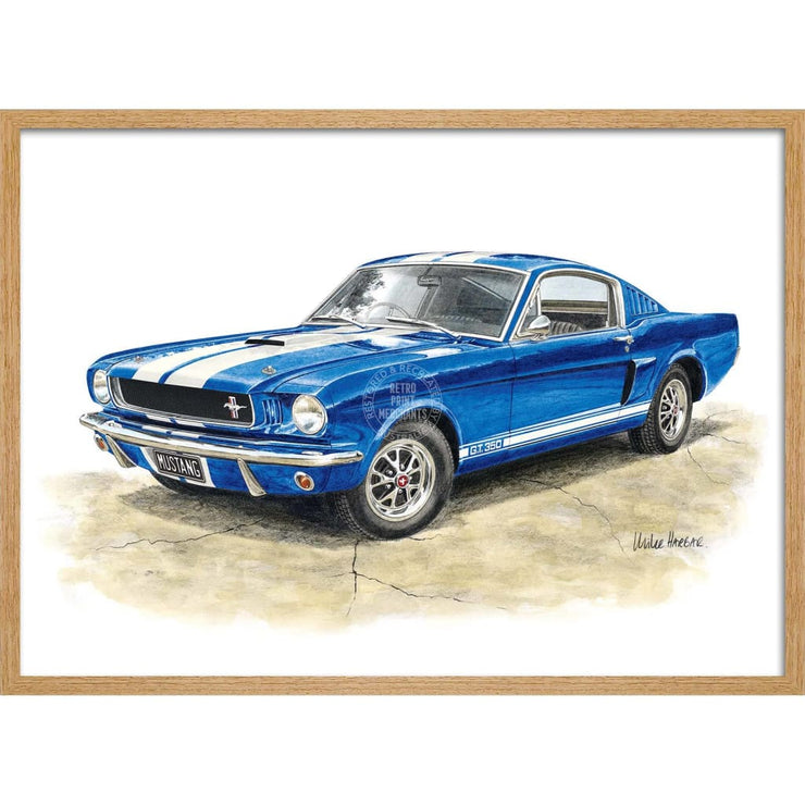 Ford Mustang 1964-66 350Gt | Illustration 422Mm X 295Mm 16.6 11.6 A3 / Natural Oak Print Art