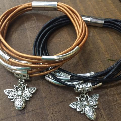 Bee Charm Leather Bracelet (Black or Copper)
